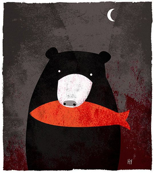 The Bear A night time snack for our favorite bear. This signed fine art print was created by Illustrator Heidi Younger. The image size is roughly