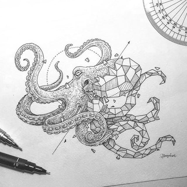 Absolutely loving @kerbyrosanes' geometric beast series - especially the octopus, obvs.