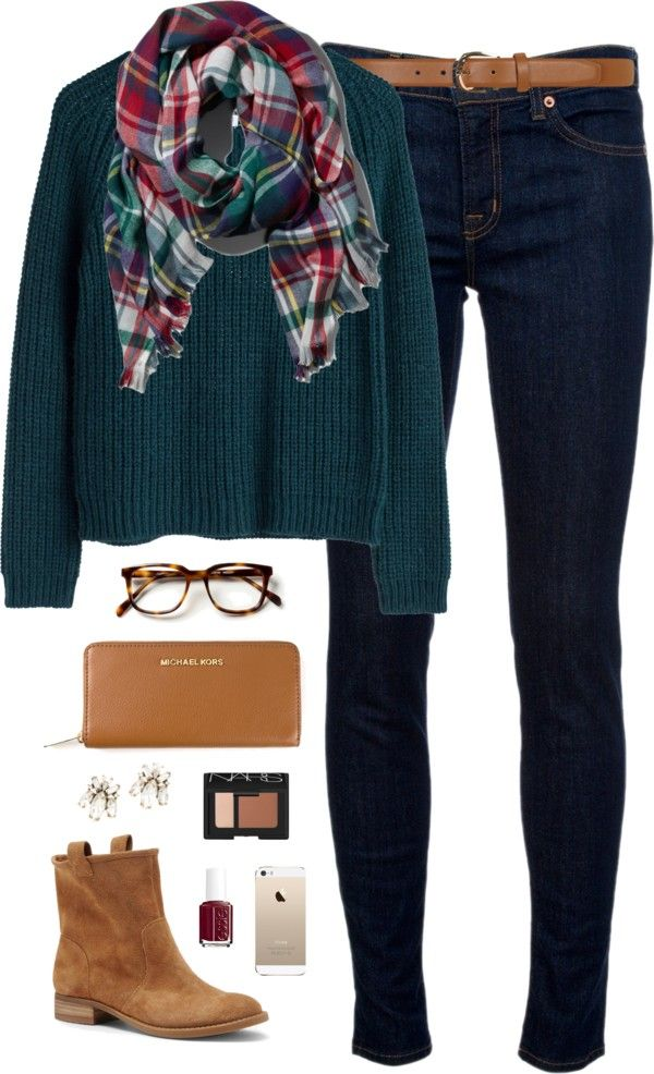 blanket scarf love por classically-preppy con J Brand ❤ liked on Polyvore J Brand jeans, $185 / Sole Society tan boots / Michael Kors brown bag, $305 / J Crew crystal jewelry / Abercrombie Fitch...