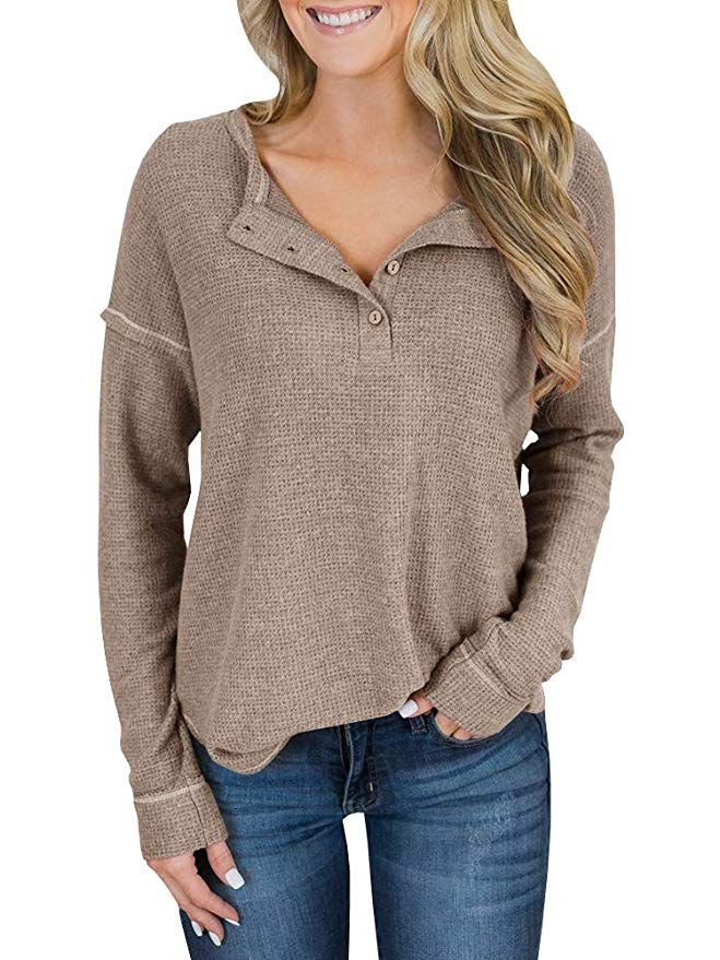 Inorin Womens Henley Sweater Fall Button Down Pullover Knit Long Sleeve  Loose Fit Jumper Tops at Amazon Women s Clothing store  f9811de0f