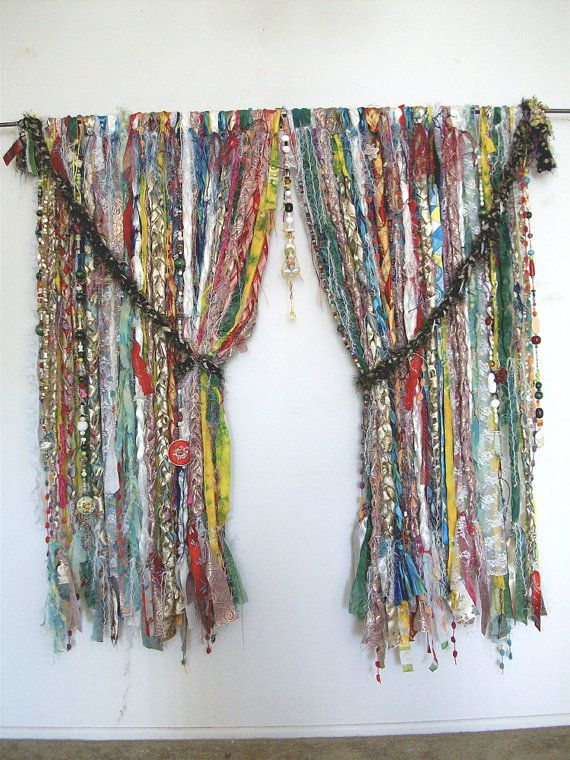 Gypsy Curtains. must have for my studio!!! Wow what a great way to display all the fancy trims I have :-)