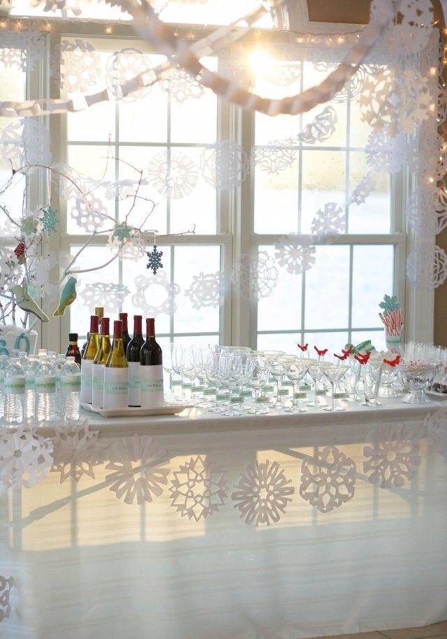 winter-wonderland-bar-snowflakes-windows-martini-glasses-chocolate-water-bottles-branches-birds