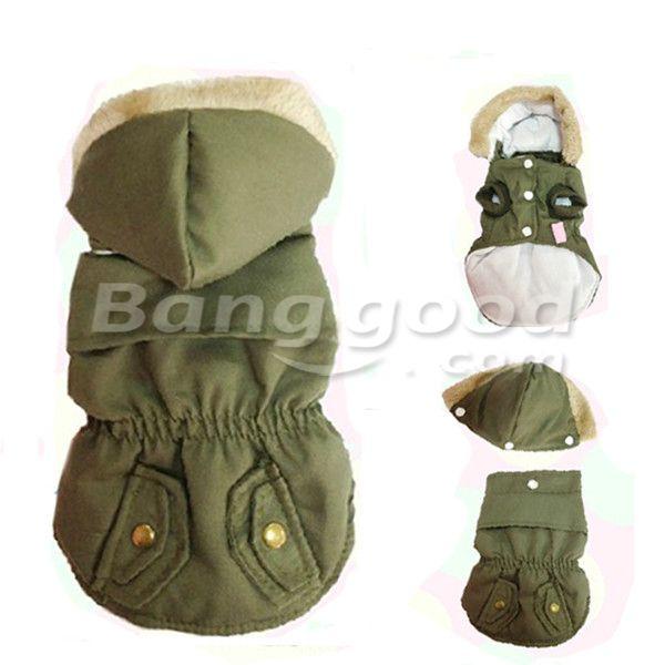 Light Army Green Fur Hat Warm Windproof Pet Dog Coat Jacket  Banggood £6.09