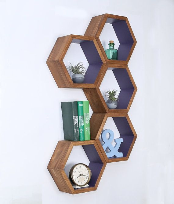 Wood Floating Shelves Honeycomb Cubby Shelves by HaaseHandcraft