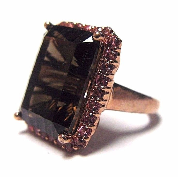 Sterling Silver Rose Gold Genuine Smokey Topaz & Pink Sapphire Halo Design Ring #Halo