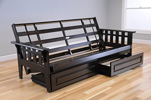 Wooden Futon Mission Style Maple Light Wood or Dark Espresso Wood FRAME ONLY WITH DRAWERS (ESPRESSO)
