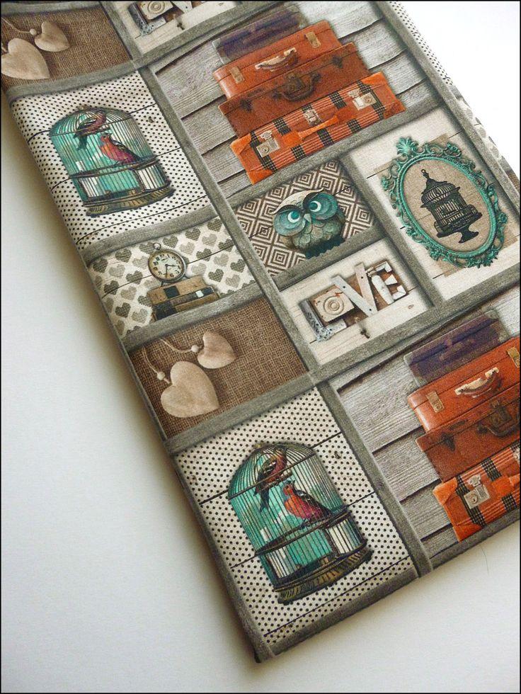 Coupon 90 x 155 cm tissu coton motifs chouettes, oiseaux, coeurs : Tissus Habillement, Déco par atomictissus