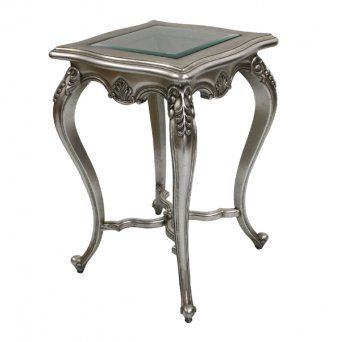 French Shabby Chic Silver Leaf Glass Top Side Table