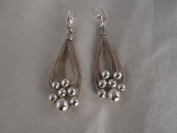 Earrings linen thread loop fantasy metalic pearl by espurna88