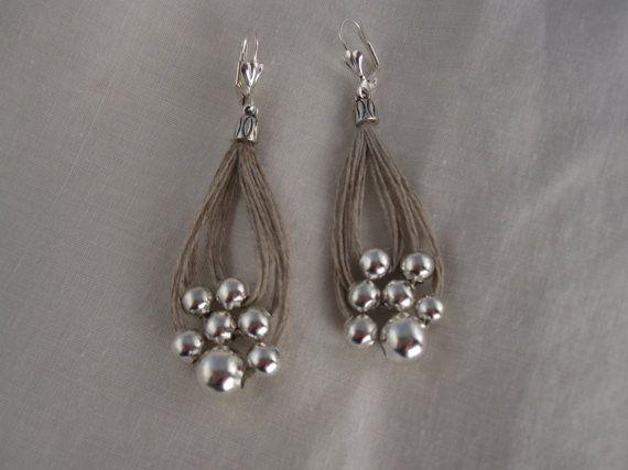 Fil de lin de boucles d'oreilles boucle été blanc méditerranéen de fantaisie métallique couleur argent Perles naturelles à la main