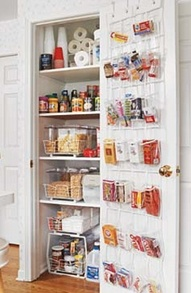 Rack on back of pantry door for more storage... like the idea