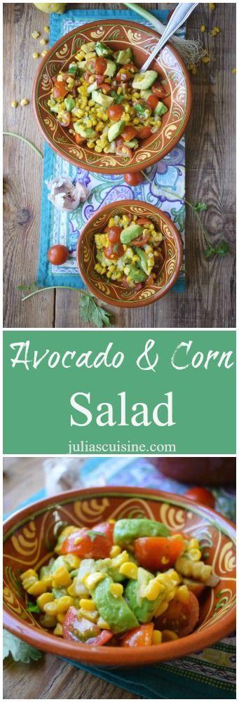 Easy Southwestern style Avocado & Corn Salad!  http://www.juliascuisine.com/home/avocado-corn-salad