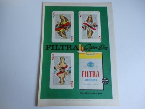 Filtra sigaretten - paginagrote tijdschriftadvertentie 1958 paginagroot (25 cm x 35 cm). Achterop de advertenties met potlood genoteerd: het tijdschrift, het nummer en de datum. Verzendkosten voor