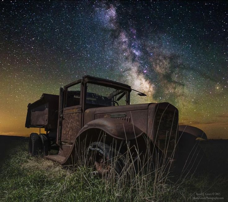"#Repost @roycebairphoto ・・・ presents… N I G H T S C A P E R of the Day P H O T O by @homegroenphotography Congratulations to Aaron J. Groen! ""International Milky Way"" (reworked version) is a single Milky Way exposure of a light painted old International truck in Southwestern, Minnesota. I've admired Aaron's natural style of ""HomeGroen"" astro-landscape photography for years —much of which has been taken in his home state of South Dakota with old buildings and rusting farm"