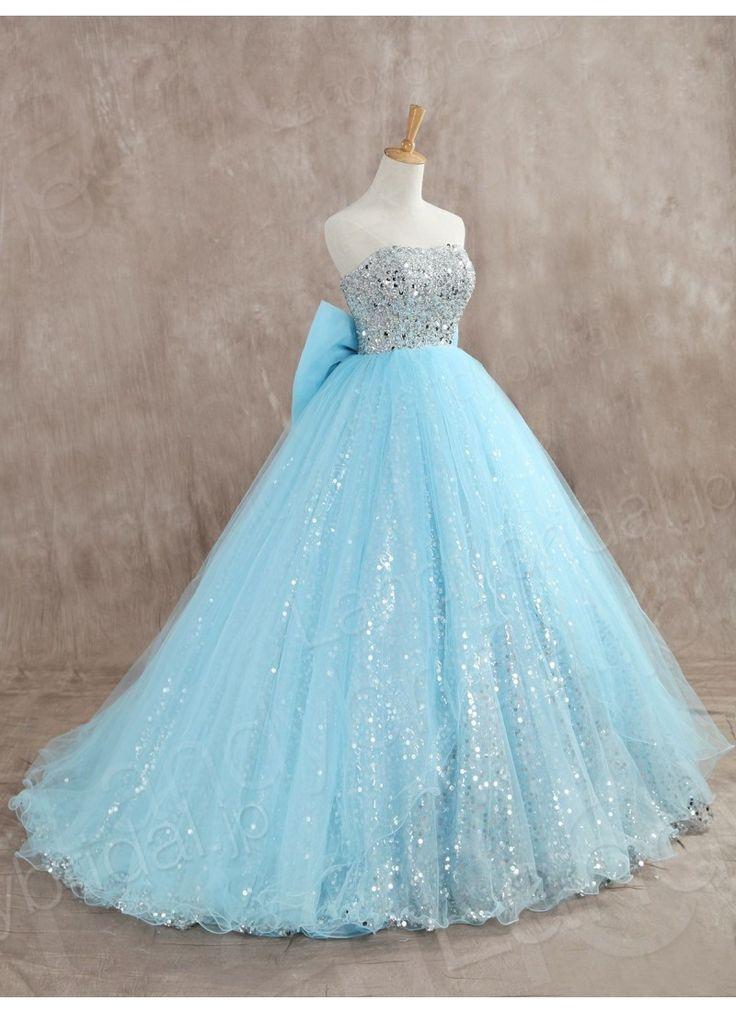 カラードレス プリンセスライン 水色 リボン チュール スパンコール キラキラ JUZ014002 価格 ¥48,600