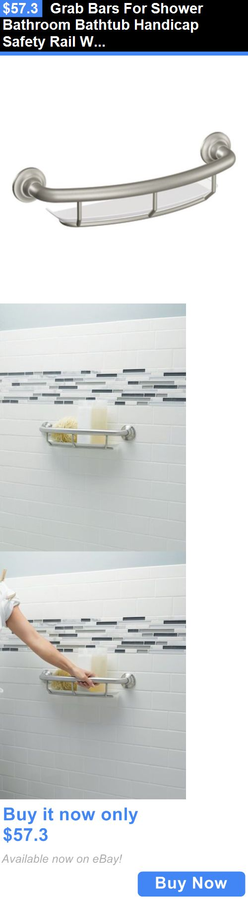 Handles and Rails: Grab Bars For Shower Bathroom Bathtub Handicap Safety Rail With Shelf Grip BUY IT NOW ONLY: $57.3