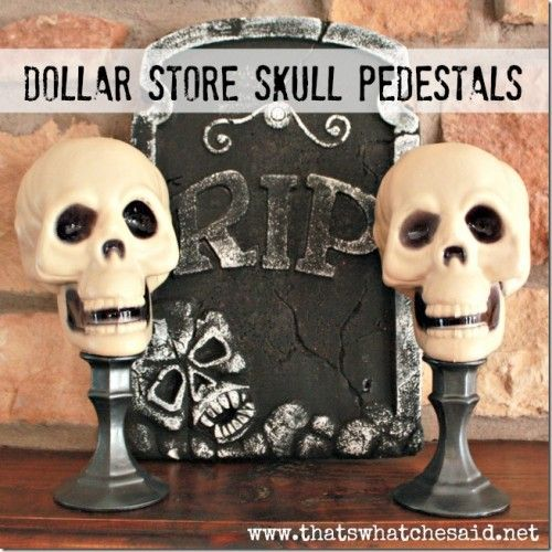 dollar store skull pedestals halloween home decor tip junkie - Diy Indoor Halloween Decorations