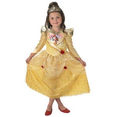 Belle glitterjurkje - maat 116/128  Ga verkleed als de Disney Prinses Belle in deze prachtige baljurk met glittereffect. Op de jurk zitten sierbloemen en bij de jurk ontvang je een goudkleurige diadeem.  EUR 39.06  Meer informatie