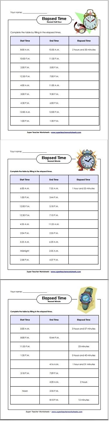 How much time has passed? Find out with these basic, intermediate, and advanced elapsed time worksheets!