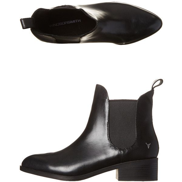 Windsor Smith Womens Leather Grinded Boot Black (€105) ❤ liked on Polyvore featuring shoes, boots, black, footwear, women, faux-leather boots, faux-fur boots, black boots, black mid heel boots and leather boots
