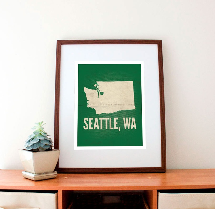 Seattle WA Love Print 11 x 14 by amycnelson on Etsy