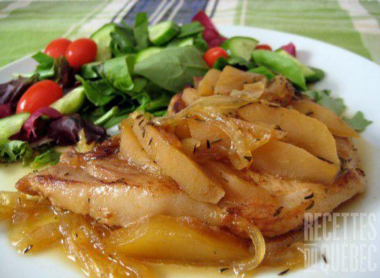 Côtelettes de porc aux pommes et à l'érable