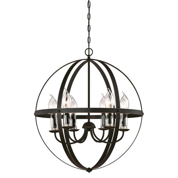 This Genna 6-Light Candle-Style Chandelier adds exceptional style and welcoming light to any outdoor living spaces. It features a rich oil rubbed bronze finish with highlights and clear glass candle covers enhance the open 6-light candelabra's glow. This unique chandelier fits perfectly in a farmhouse and traditional outdoor settings and provides eye-catching illumination. Light up a front or back entryway with this extraordinary fixture. The timeless design and durable craftsmanship of o...
