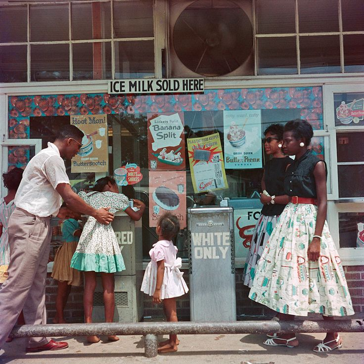 At segregated drinking fountain. Mobile, 1956. by Gordon Parks