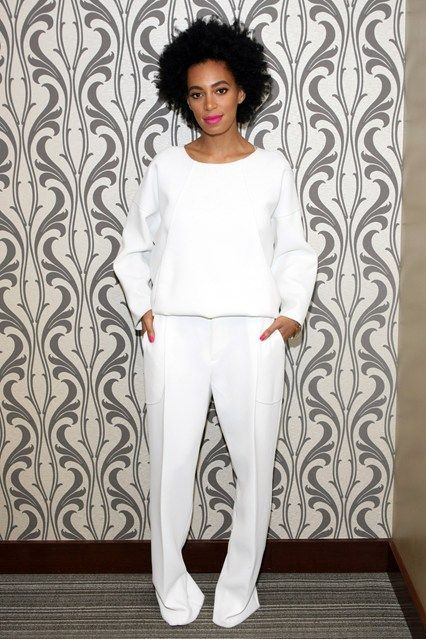 New York – September 19 2013  Solange Knowles wore a white top and trousers for a visit to a New York recording studio
