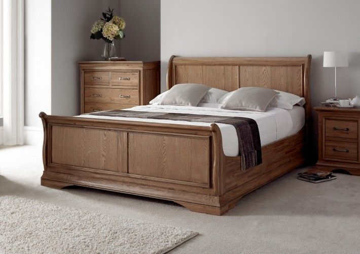 French Style Versaille Rustic Oak Sleigh Bed
