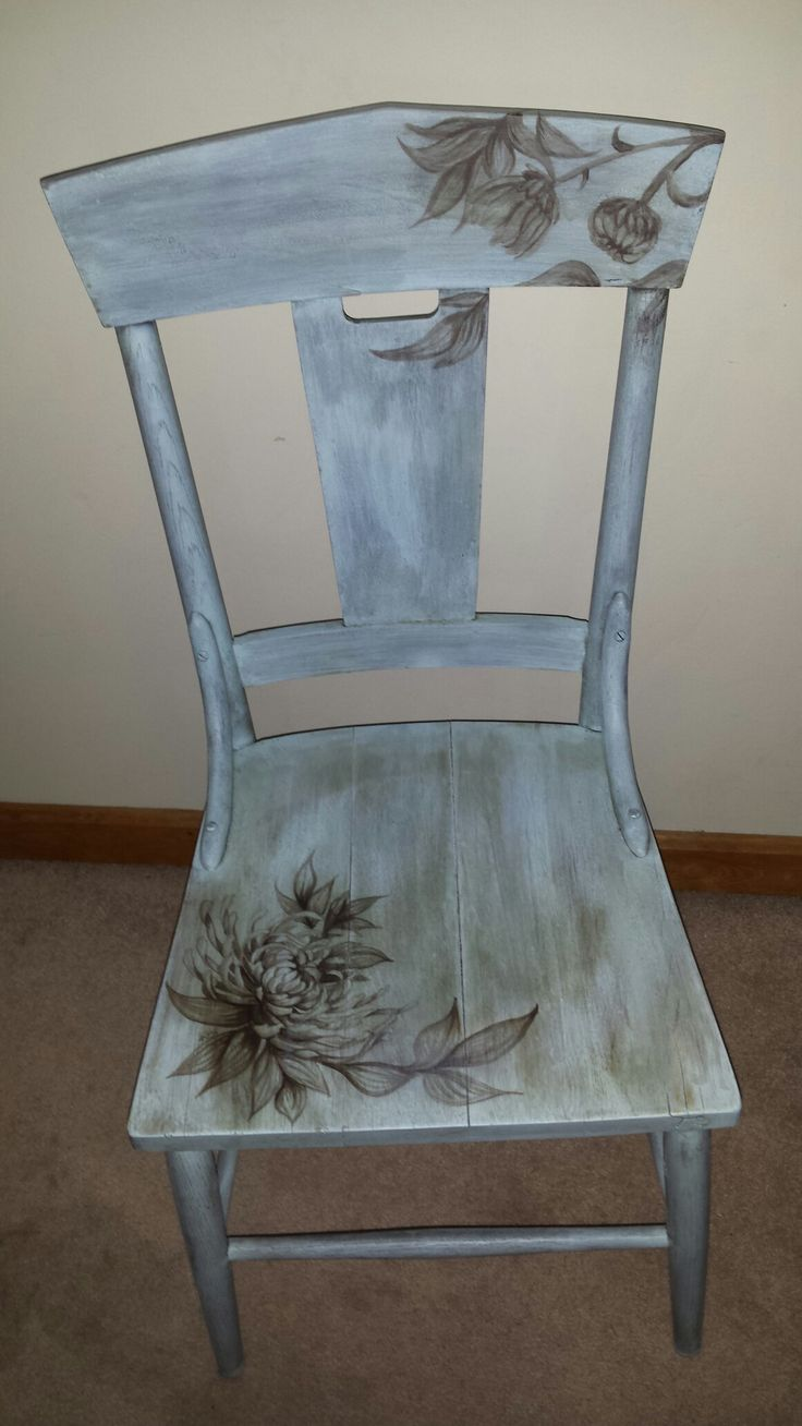 www.muralsbykeri.weebly.com Handpainted distressed chair. Used Rustoleum spray paint and wiped off for this look. The chrysanthemums were handpainted with a dark brown wash. Sealed with matte triple thick polyurethane.   #antique #antiquechair #rustoleum #distressed #upcycledfurniture #aqua #chrysanthemum #vintage #furniture #chair #handpaintedflowers