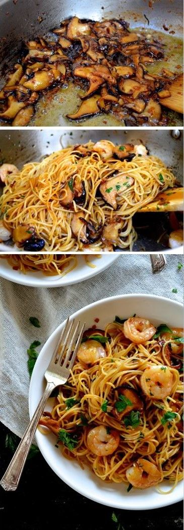 Soy Sauce Butter Pasta with Shrimp and Shiitakes - substituted GF spaghetti