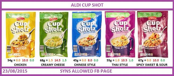 Aldi Cup Shot Syns Slimming World Slimming World