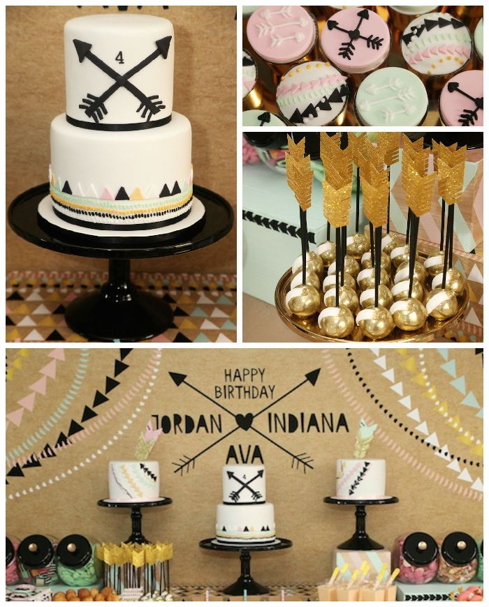 Modern Aztec themed birthday party via Kara's Party Ideas KarasPartyIdeas.com | Cake, decor, printables, tutorials, desserts, banners, food, and more! #modernaztecparty (3)