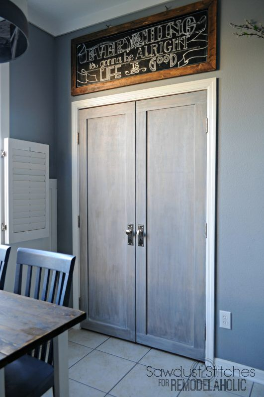 Bifold pantry doors into paneled french doors - love this modern update!