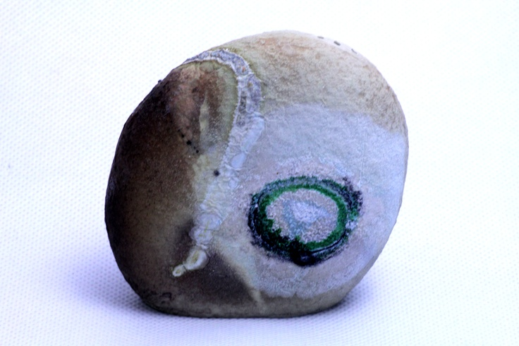 beach rock salt shaker, recreated in porcelain, fired with shell seaweed copper and salt, 2011