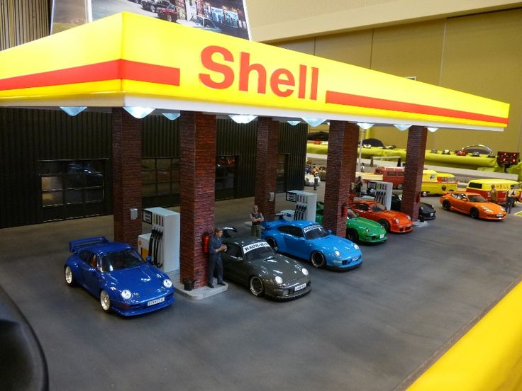 Modern Shell Gas Station 1 24 Scratch Built Diorama Models