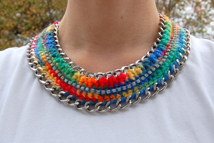 Crochet and chain necklace - step by step tutorial