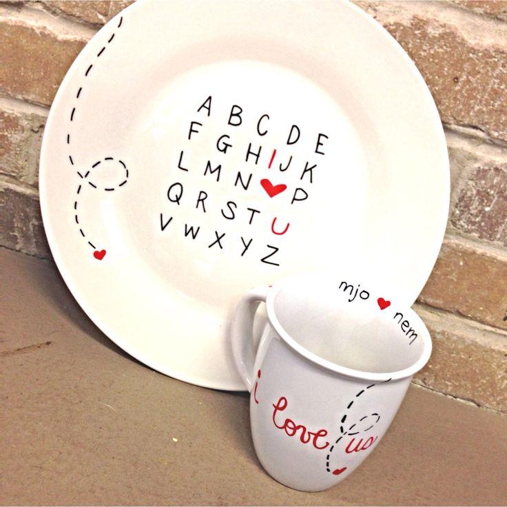 i heart u alphabet plate and cup