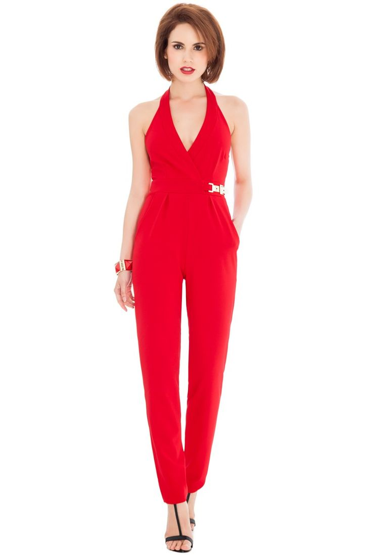 V Neck Gold Buckle Detail Jumpsuit - Red - Front - TR76