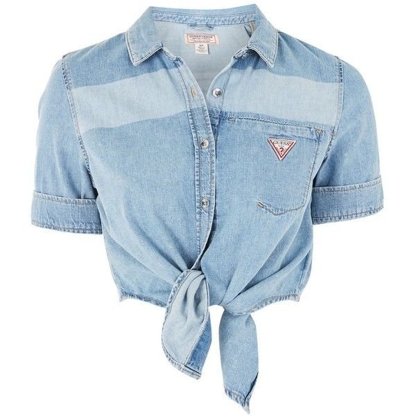 Tie Front Denim Shirt by Guess Originals (£79) ❤ liked on Polyvore featuring tops, blue, blue denim shirt, short-sleeve shirt, blue striped shirt, denim shirt and striped top