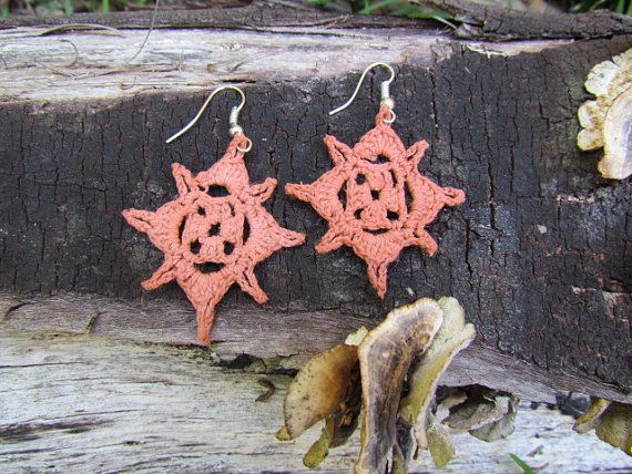 Crochet Mini Doily Earrings by doilydreaming on Etsy