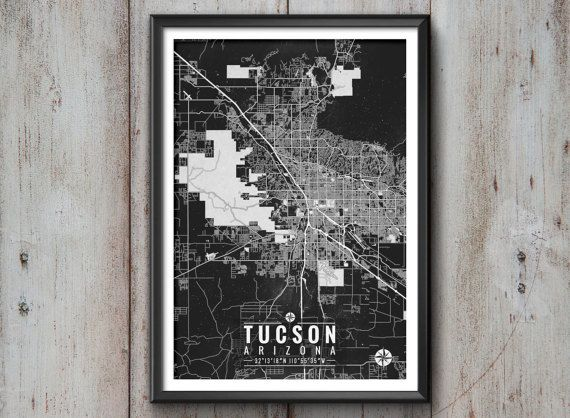 "Tucson Arizona Map with Coordinates _______________________________  - Print size available in: 13"" x 19"", 12 x 18, 11 x 14, 8 x 10, 6 x 8, or"