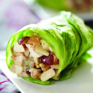 Apples, Chicken & Grapes in Lettuce: 1/2 cup chopped cooked chicken breast, 3 tablespoons chopped Fuji apple, 2 tablespoons chopped black or red grapes, 2 tablespoons Almond Butter, 1 tablespoon mayonnaise (sub guacamole), Iceberg lettuce.