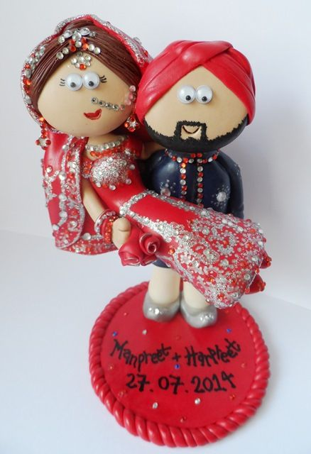 Custom Handmade Personalised Indian Asian Pakistani Bride And Groom Wedding Cake Topper Made To Look Like You