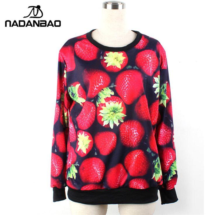 Autumn woman hoodies Long Sleeve O Neck Women sweatshirt  Red Strawberry Printed Woman Pullover  moleton #Affiliate