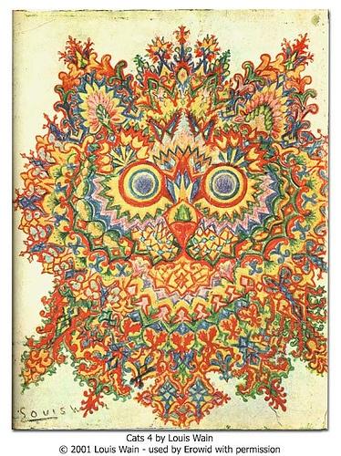 My favorite stage of Louis Wain's schizophrenia art