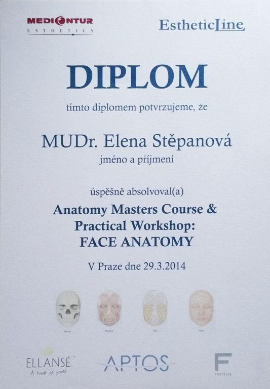 Certifikát MUDr. Eleny Stěpanove, Medical Institut, Bezručova 16, Plzeň, 775 123 528