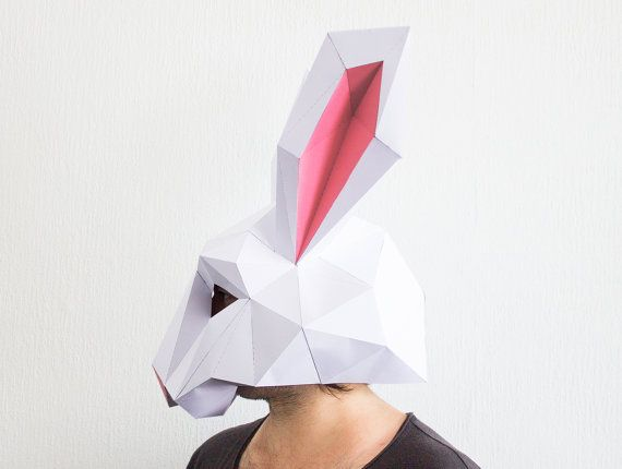 Make your own Rabbit Mask, Animal Head, Instant Pdf download, DIY New Year Mask, Printable Mask, 3D Pattern, Polygon Masks