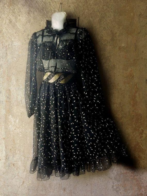 LAce Black Sheer Boho Lolita Dress. Lace Ribbons by ShabbyPeonie